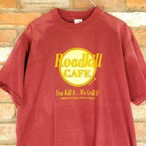 Vintage rare mens Roadkill Cafe shirt 1992 red